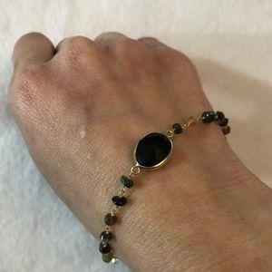 Jewelry - 14K Plated Black Onyx & Multi Gemstone Bracelet